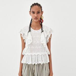 NWT Zara Size M Contrasting Romantic Blouse